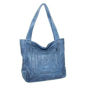 Nino Bossi Denim Blue Squares Deb Leather Tote Bag